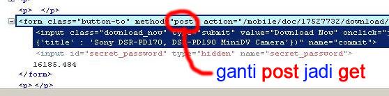 kode yang nampak di Firebug