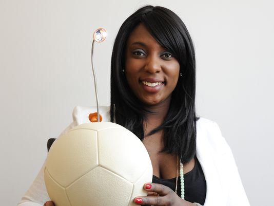 Jessica O. Matthews with the Soccket Inovation