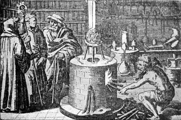Ilustrasi tentang penggambaran percobaan alkimia